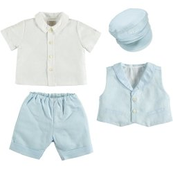 Emile Et Rose Baby Boys White Blue Linen Waistcoat Set With Hat