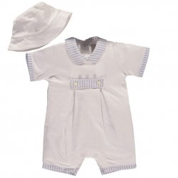 Emile Et Rose Baby Boys White Blue Comfy Jersey Romper With Hat