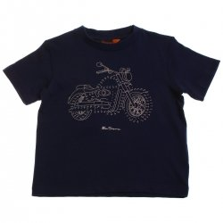 Ben Sherman boys biker t shirt in navy