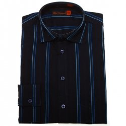 Ben Sherman boys black shirt with blue stripes
