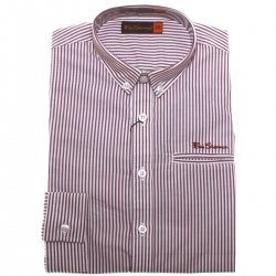 Ben Sherman boys smart shirt in white with red stripes