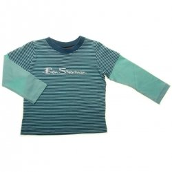 Ben Sherman Boys Long Sleeve T Shirt in Blue Stripes