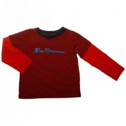 Ben Sherman Boys Long Sleeve T Shirt in Red Stripes