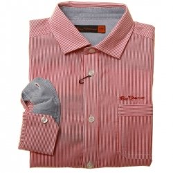 Ben Sherman Boys Shirt In Red Stripes