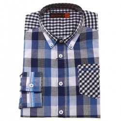 Ben Sherman Boys Shirt In Blue White Checked