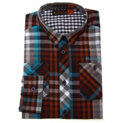 Ben Sherman Boys Shirt In Red Blue Checked