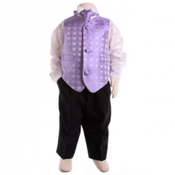 Boys Lilac Cravat Waistcoat Set Wing Collar Shirt Black Trousers