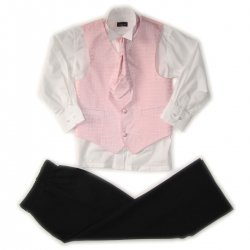 Boys Pink Cravat Waistcoat Set Wing Collar Shirt Black Trousers