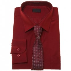 Boys Burgundy Shirt And Tie Set In High Quality Fabric