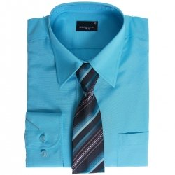 High Quality Boys Aqua Shirt With Tie