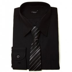 Boys Black Shirt With Tie in High Quality Fabric