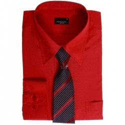 High Quality Boys Red Shirt And Tie Set For Formal Occasions
