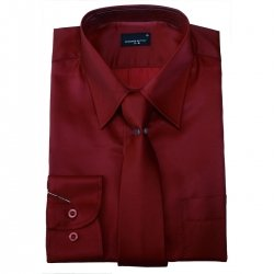 Boys dress shirt with tie maroon colour sheen fabric