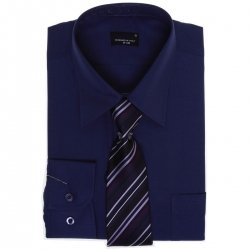 High Quality Boys Navy Purple Formal Shirt With Tie