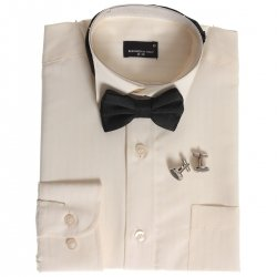 Boys ivory wing collar shirt with bow tie cufflinks and gift box