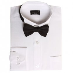 Boys white wing collar shirt with black bow tie