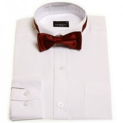 Boys wing collar shirt in white with burgundy bow tie