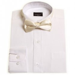 Boys wing collar white shirt with ivory bow tie