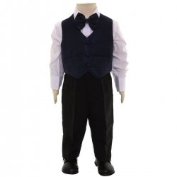 Boys 4 Piece Navy Waistcoat Set 6m To 8yrs