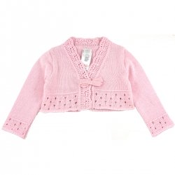 Girandola Baby Girls 100% Cotton Pink Bolero