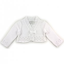 Girandola Baby Girls 100% Cotton White Bolero