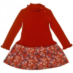 SALES Girandola Girls Knitted Red Floral Dress