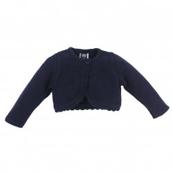 Girandola Girls 100% Cotton Navy Bolero Scallop Edge Decoration