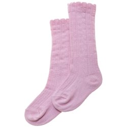 Pink Knee High Socks Scallop Edge Cotton Rich