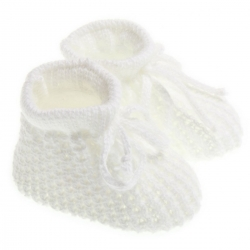 Newborn baby soft knitted booties in white