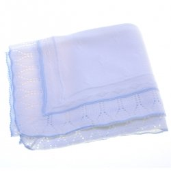 White Shawl With Blue Trim And Diamond Pattern