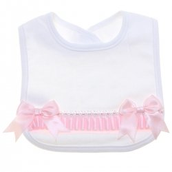 Baby Girls Soft Cotton White Bib With Pink Bows