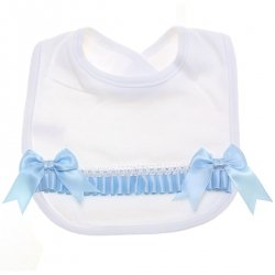 Baby Soft Cotton White Bib With Blue Bows Blue Ribbons