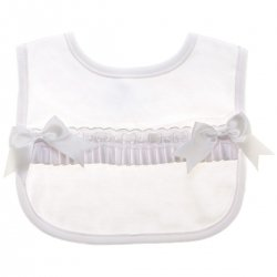 Baby Girls Soft Cotton White Bib With White Bows
