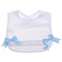 Baby Soft Cotton White Bib White Lace Blue Bows White Ribbons