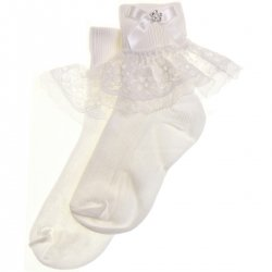 Chiffon lace with diamante girls white frilly white socks