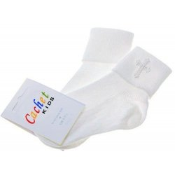 Baby christening socks with a cross white