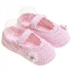 Cotton Crochet baby bootees in pink with white flowers