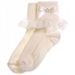 Diamante lace girls ivory frilly socks