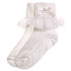 Diamante lace girls white frilly socks