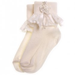 Flowers Lace Rosebuds Girls Ivory Frilly Socks