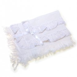 Baby White Frilly Shawl
