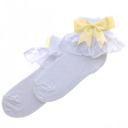 Frilly Lace Girls White Socks With Lemon Yellow Bow