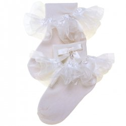 Baby Girls Organza Frilly Ivory Bow Socks