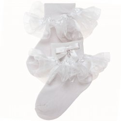 Baby Girls Organza White Frilly Socks With Bow