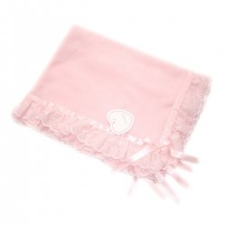 Frilly blanket in pink with pink lace trims