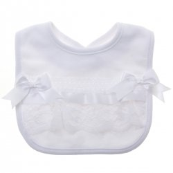Baby White Bib White Bows White Lace Soft Cotton