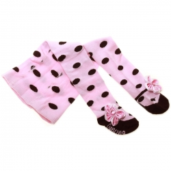 Baby Girls Pink Tights With Black Polka Dots And Pink Bow