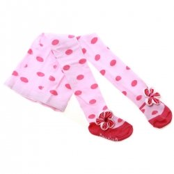 Baby Girls Pink Tights With Fuchsia Bow