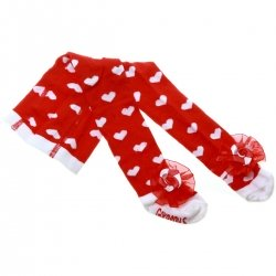 Baby Girls Red Tights With Red Bow