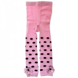 6120 Baby Girls Foot Less Tights In Pink Black Polka Dots